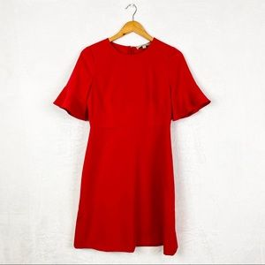 LOFT Red Ruffle Sleeve Dress